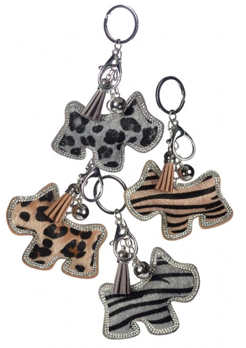 EXOTIC DOGS KEYRINGS BEIGE STRIPE